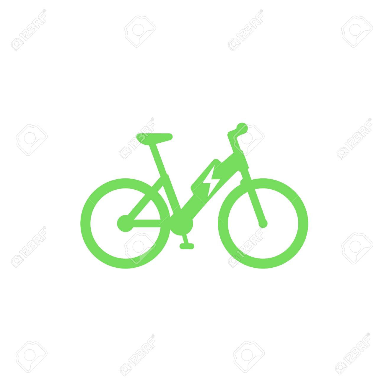 Electric bicycle icon, e-bike isolated on white - 89552925