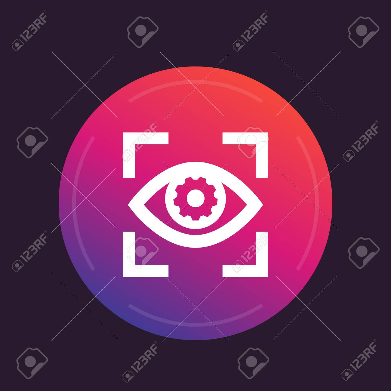 Eye with gear icon, vector pictogram - 90302877