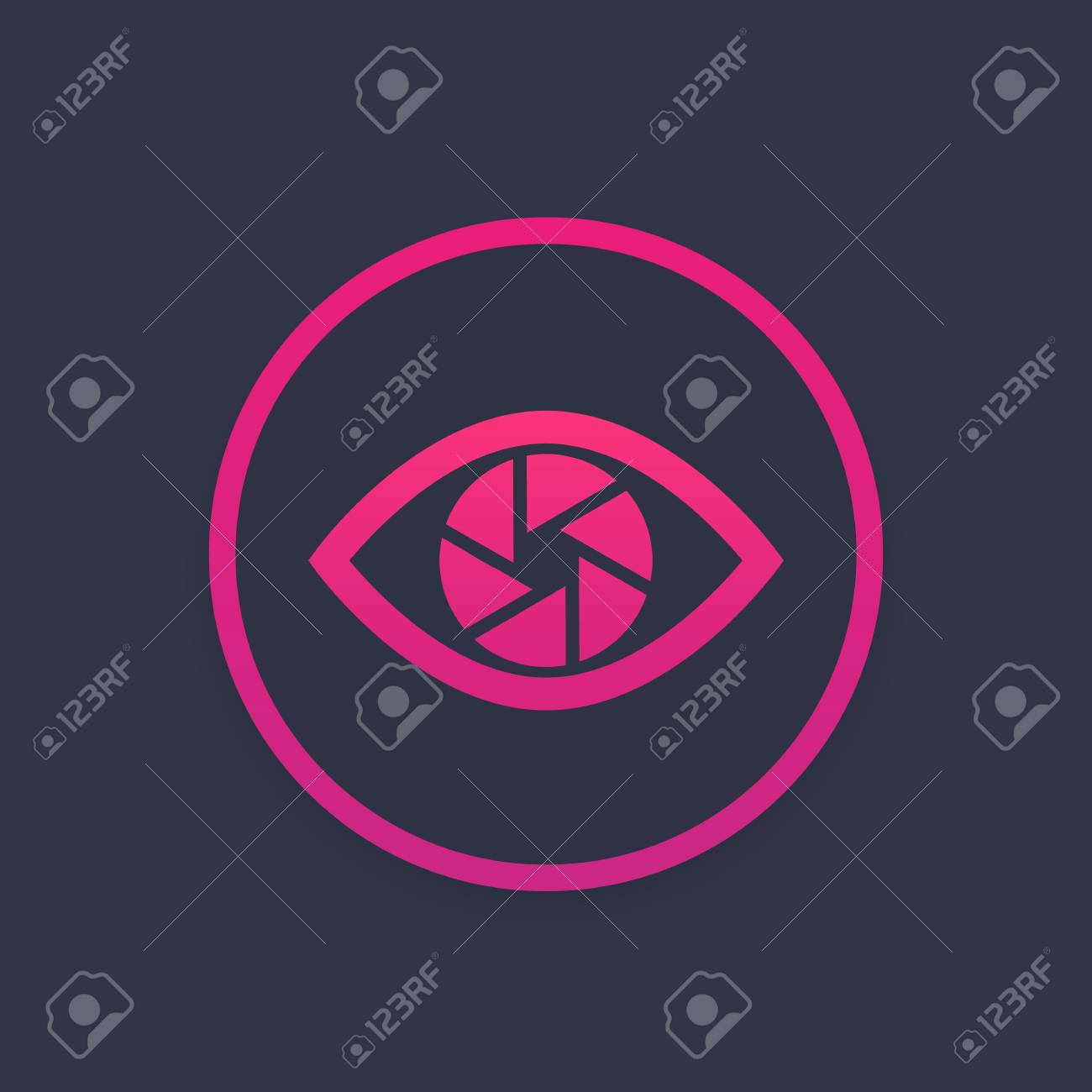 Eye with aperture symbol, vector icon - 91689983