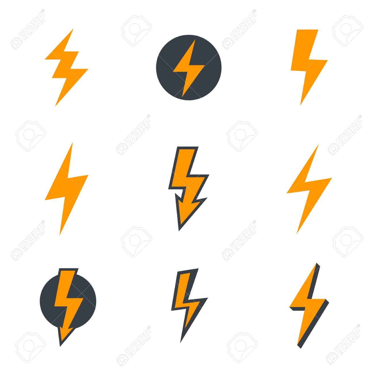 23 Lightning Bolt, Electricity, Warning Signs Royalty Free Cliparts ...