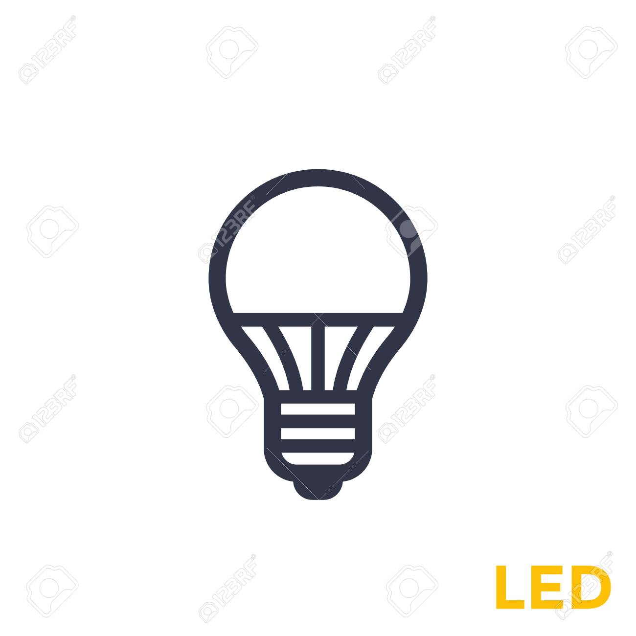 bulb on white led icon light EDIH29