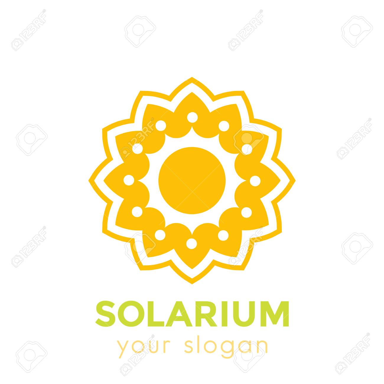 Solarium Logo With Sun And Flower On White Royalty Free Cliparts