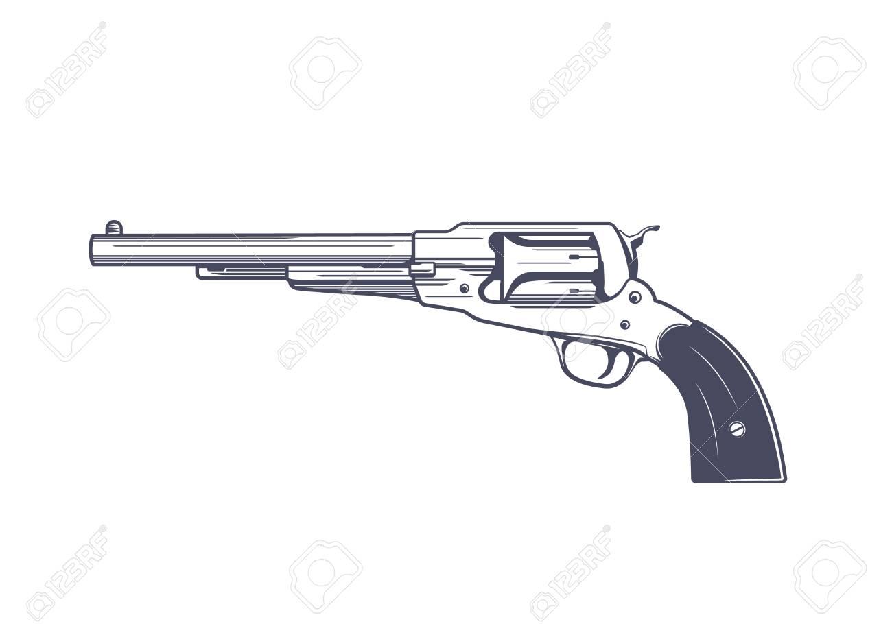 A old revolver, single-action, six-shot, percussion handgun vector