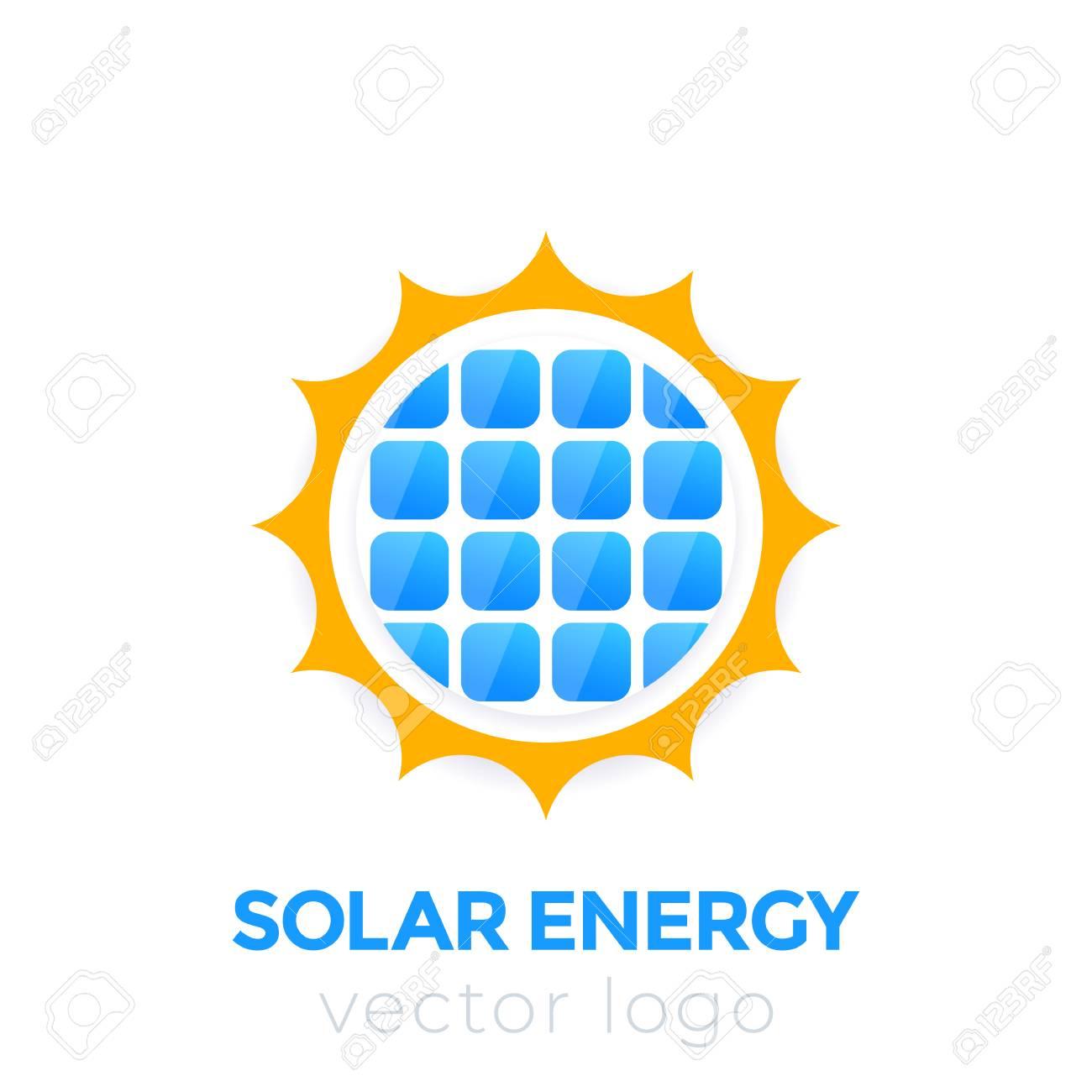 Solar energy vector logo, sun and solar panel