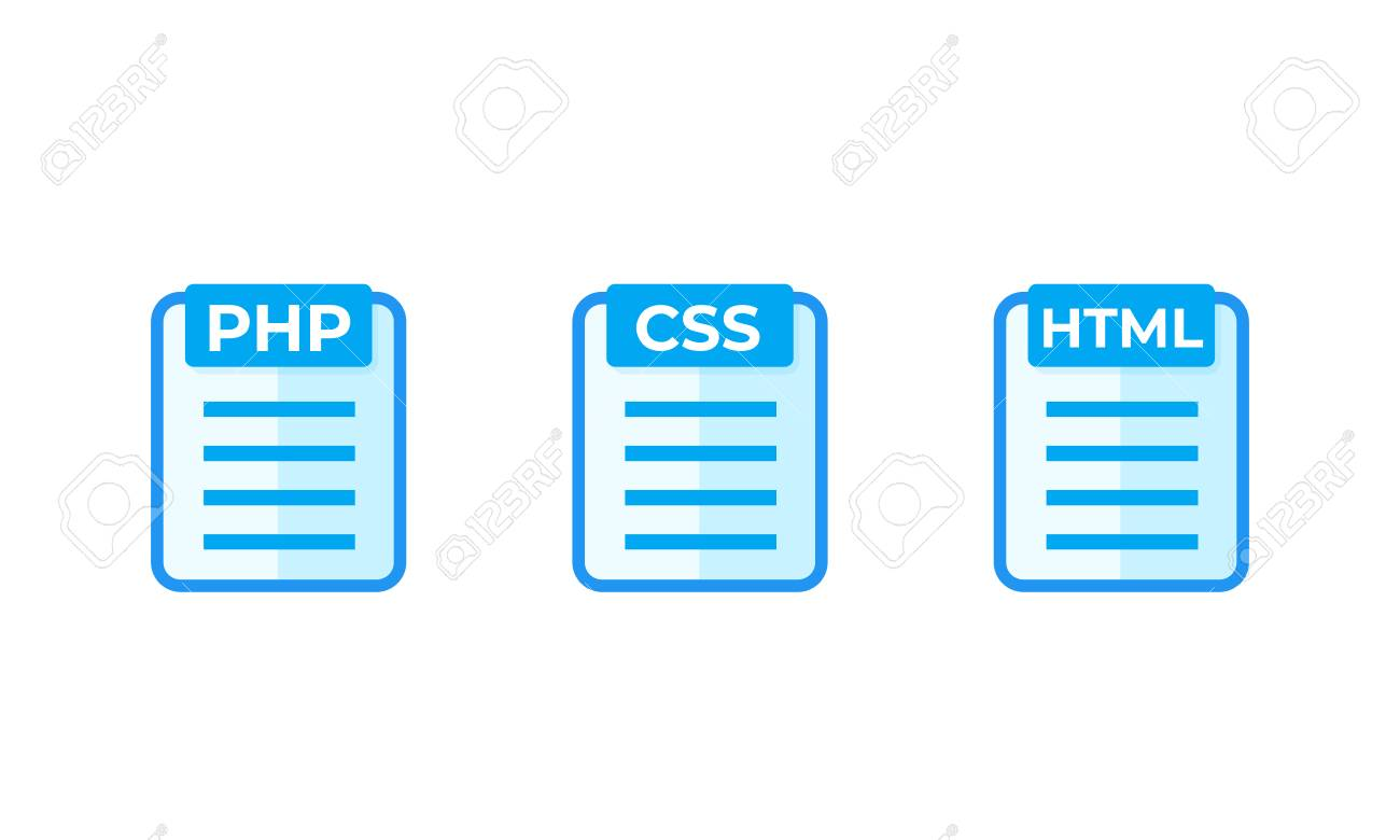 PHP, CSS, HTML code vector icons on white