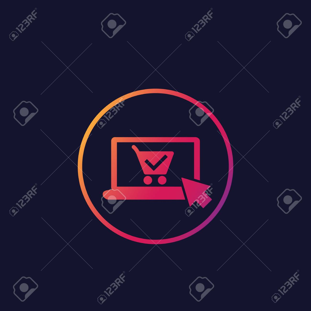online order, purchase vector icon, laptop and shopping cart - 114178614