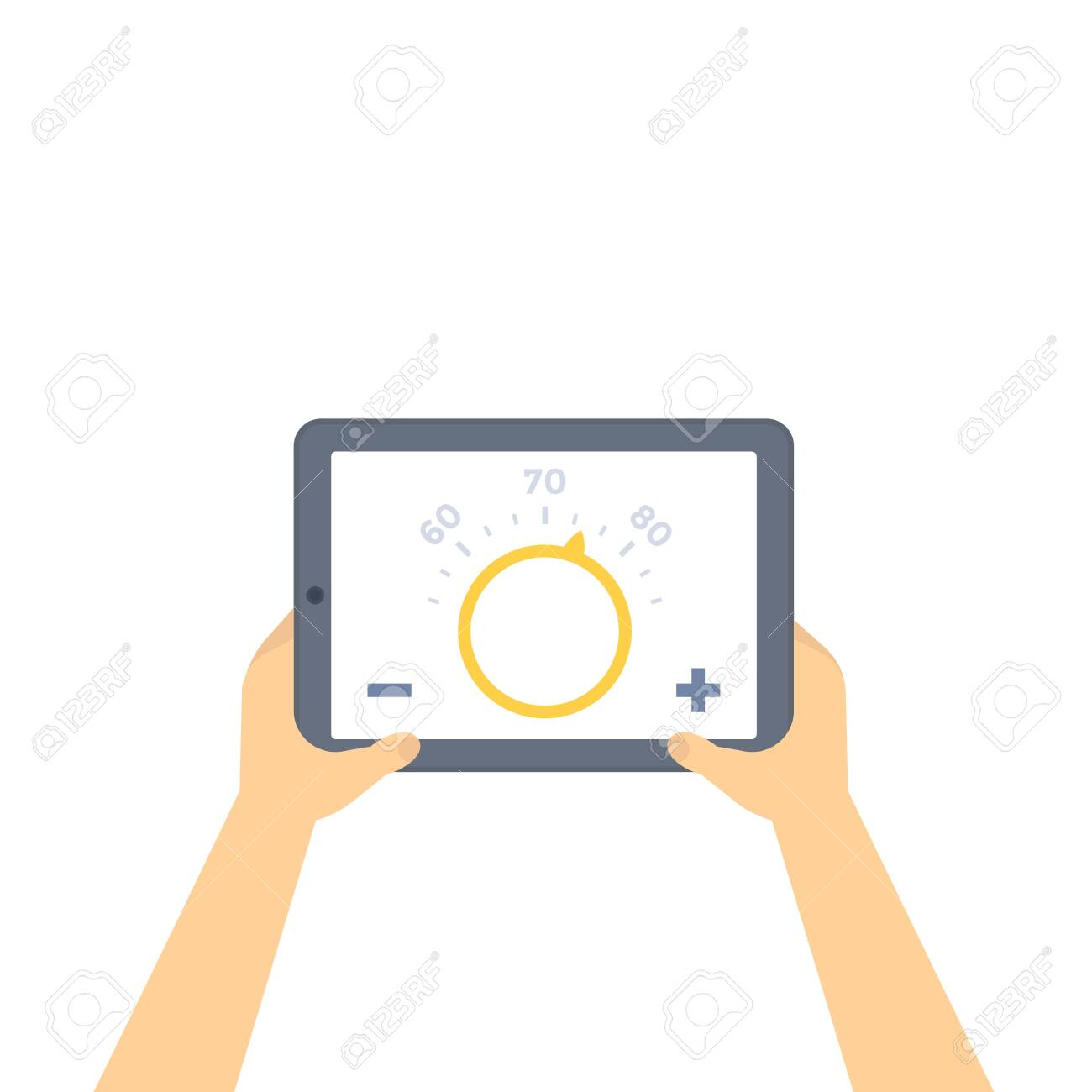 thermostat app on tablet screen - 122980035
