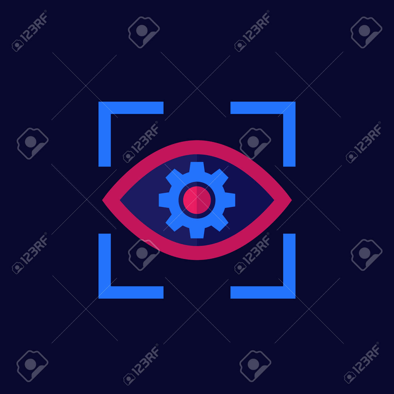 eye with gear icon, flat vector - 156445347