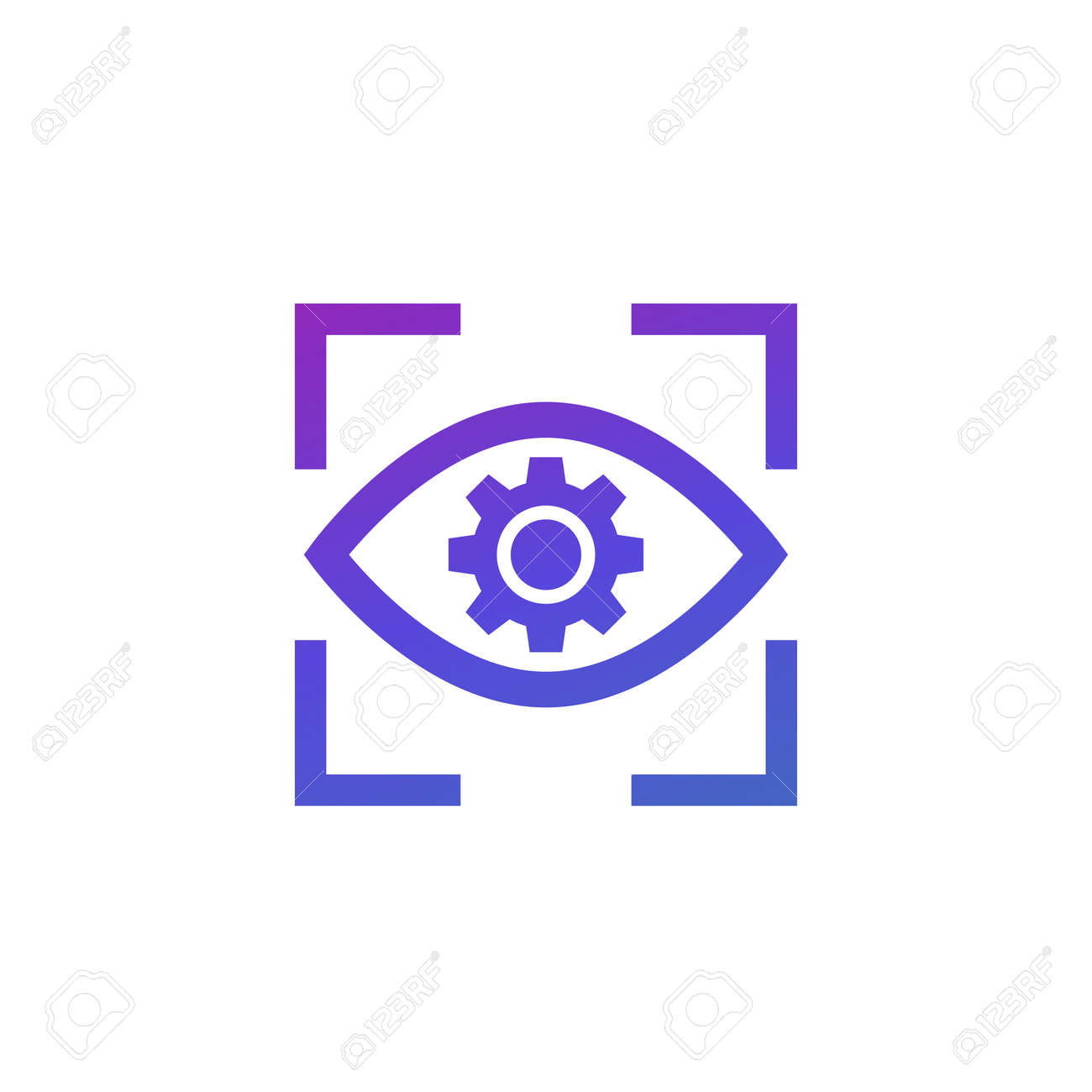eye with gear icon on white - 159798001