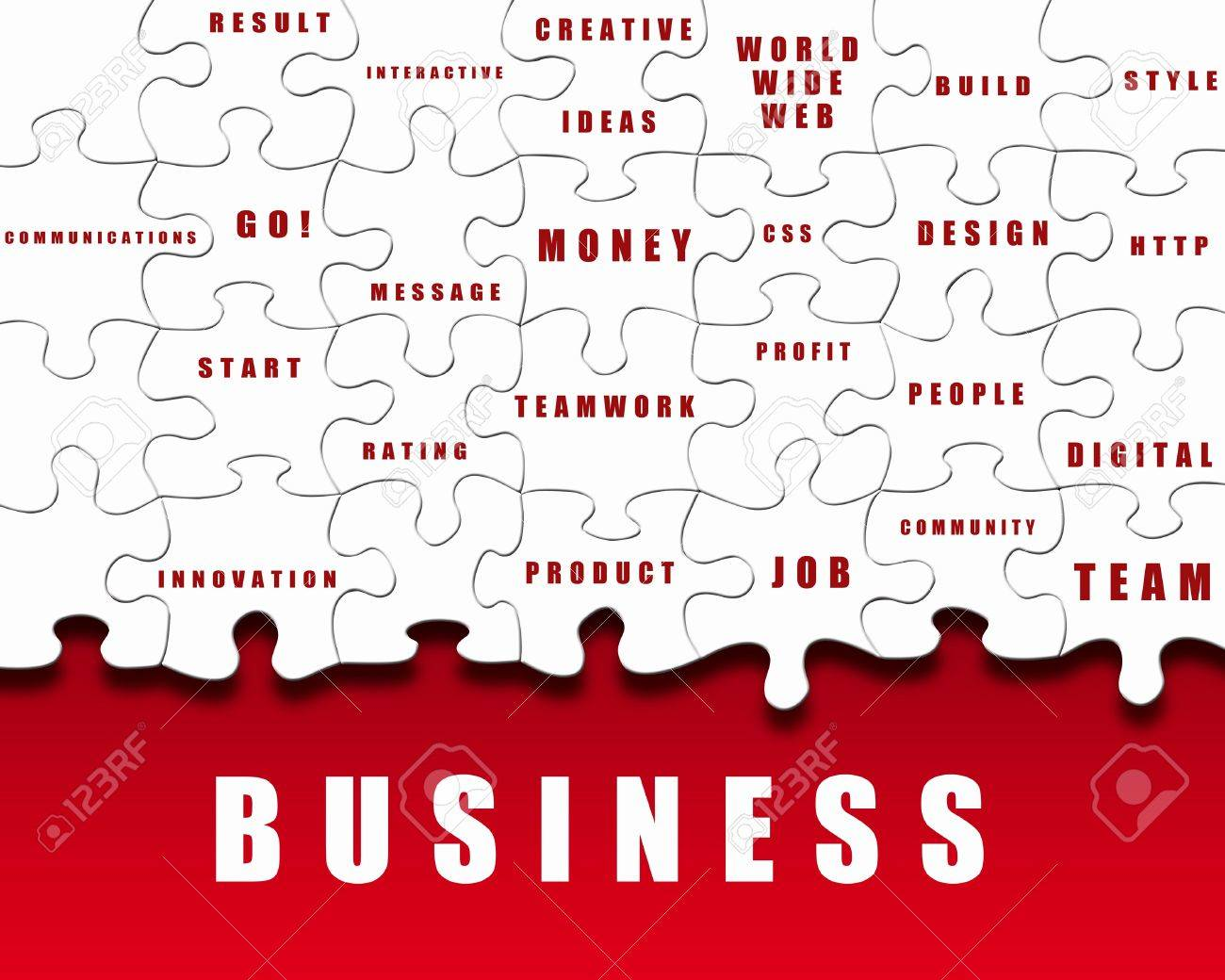 Puzzle pieces with business terms written on them Stock Photo - 11986658