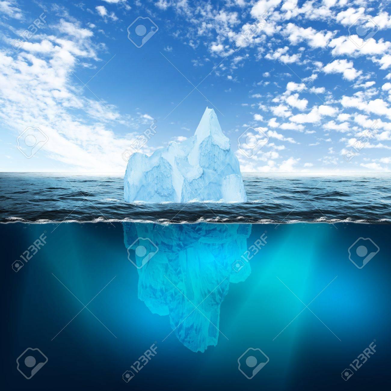 Antarctic iceberg in the ocean Beautiful polar sea background - 12404506