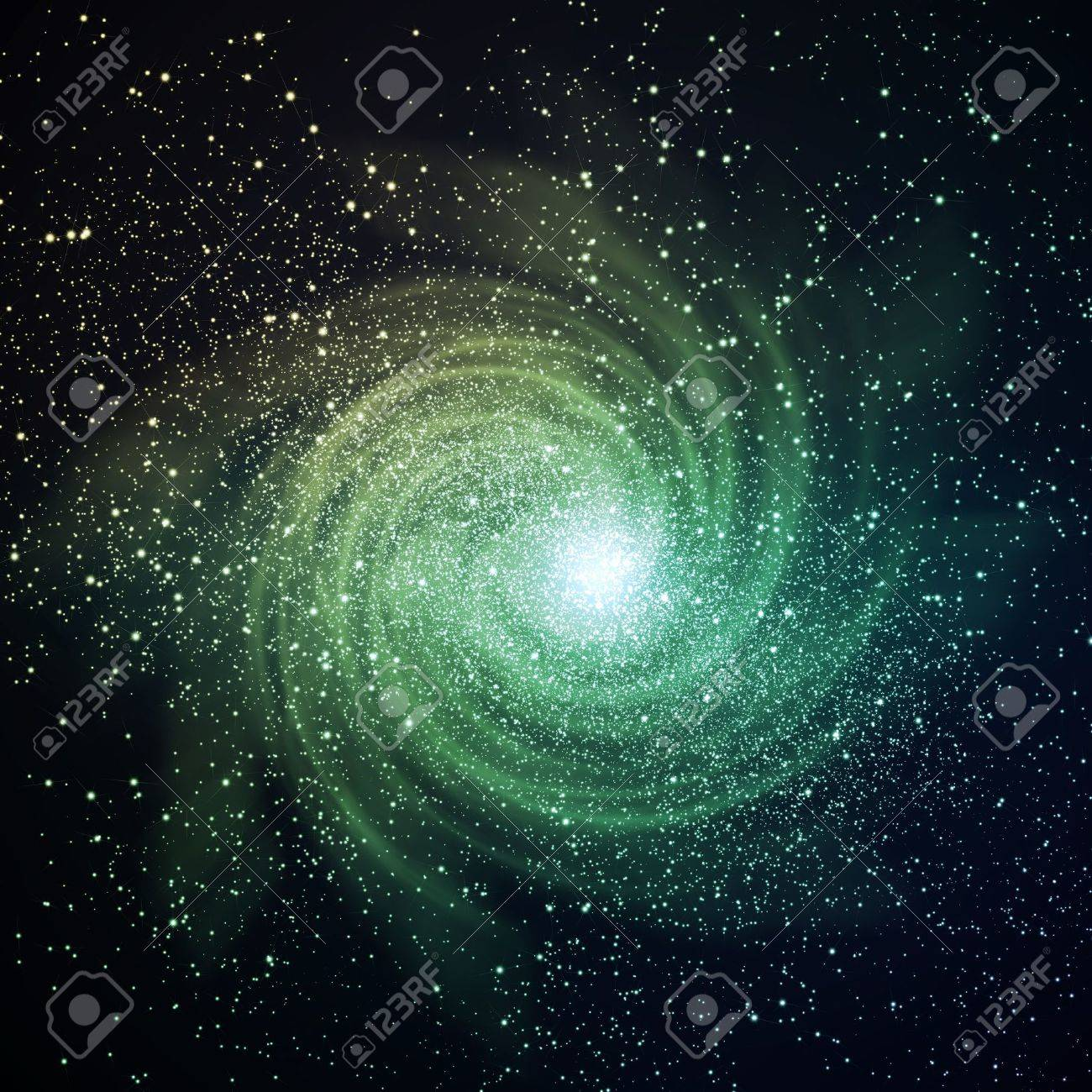Image of glowing galaxy against black space and stars Stock Photo - 12404537