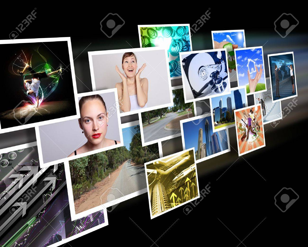 Colour images flow representing modern media technology - 12561388