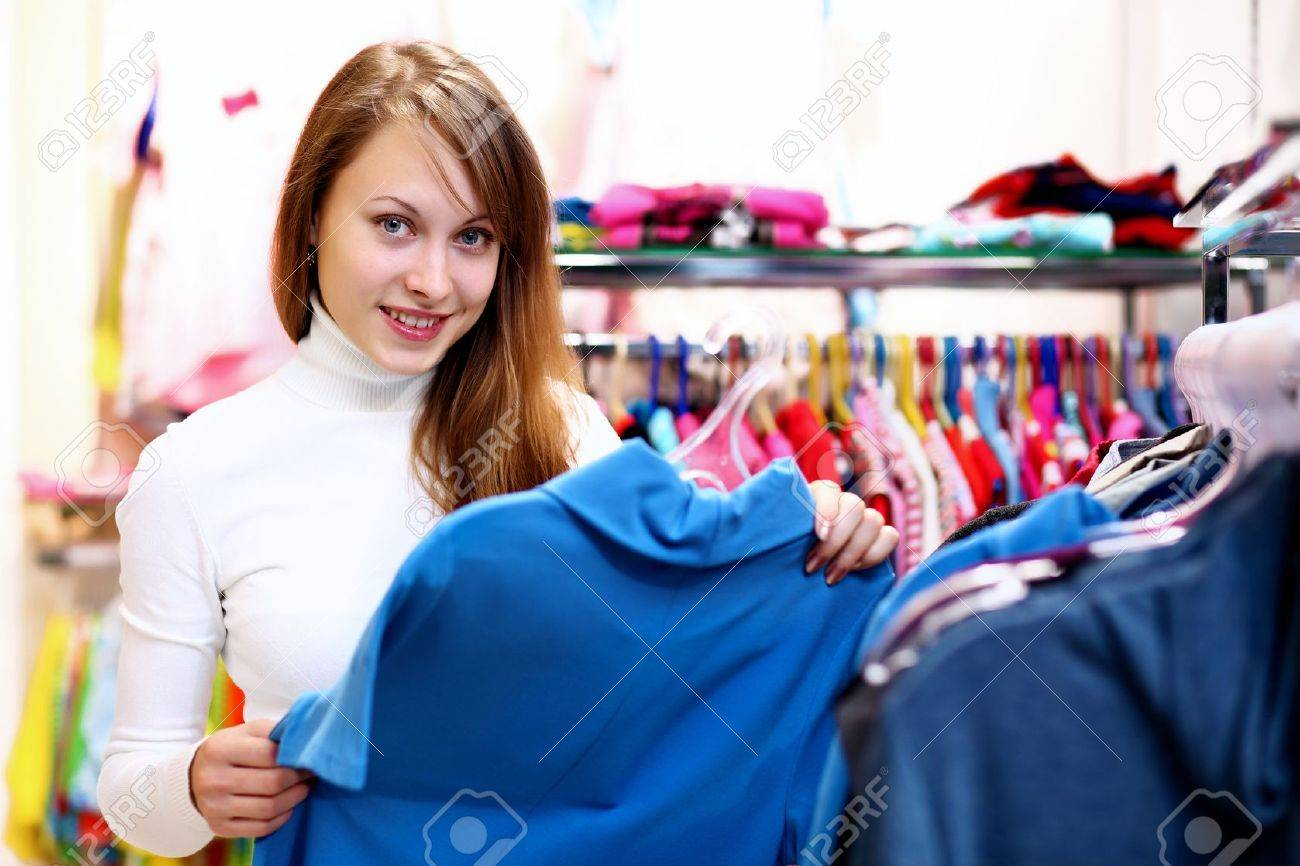Portrait of young woman inside a store buying clothes Stock Photo - 12804455