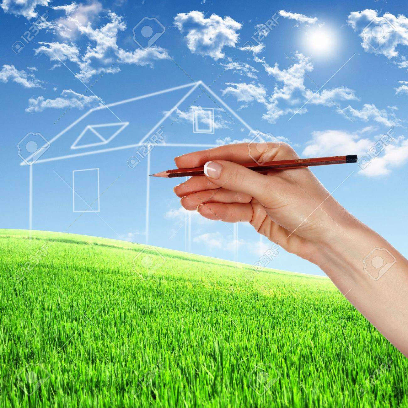 Picture of a house from white clouds against blue sky Stock Photo - 13197191
