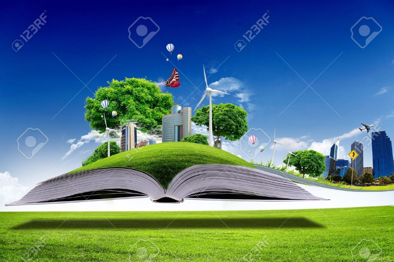 Open book with green nature world coming out of its pages - 13171068