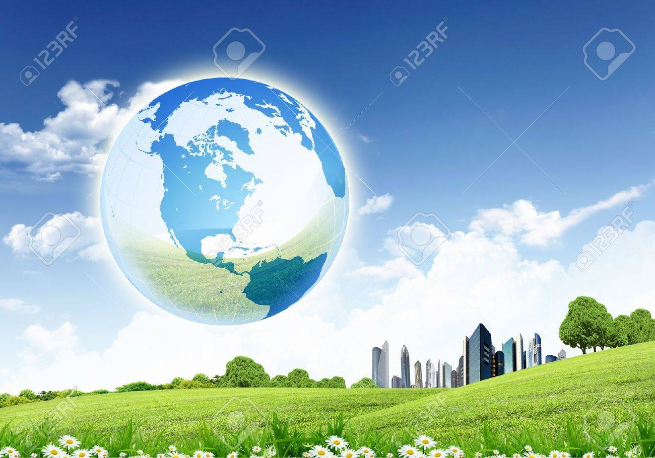 collage of green nature landscape with planet Earth above it Stock Photo - 13246869