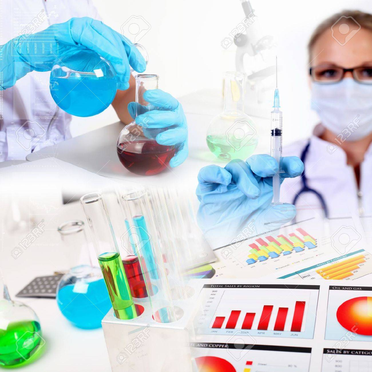 Collage on science with young woman and laborotary equipment Stock Photo - 13382948