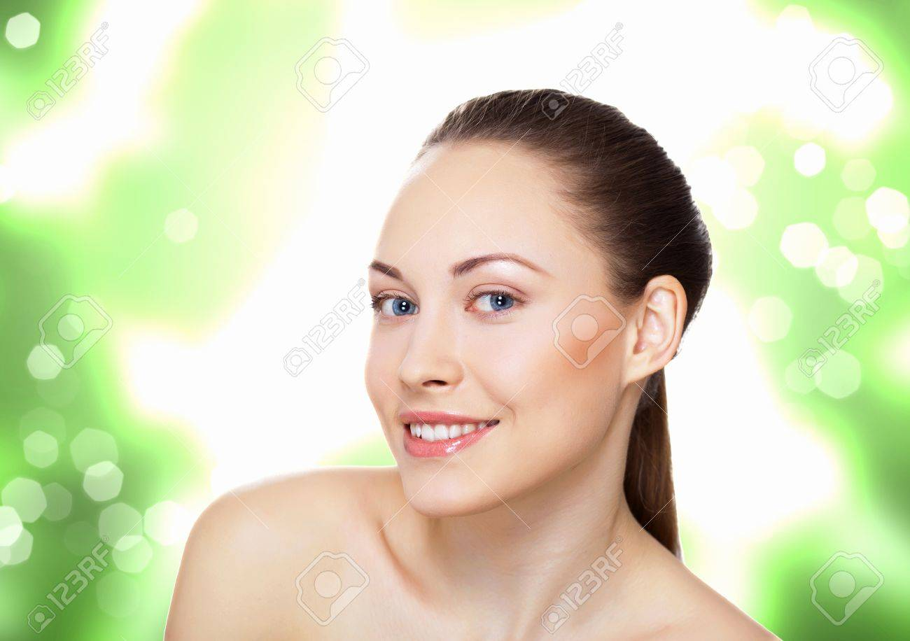 Studio portrait of young beautiful woman natural look Stock Photo - 13383185
