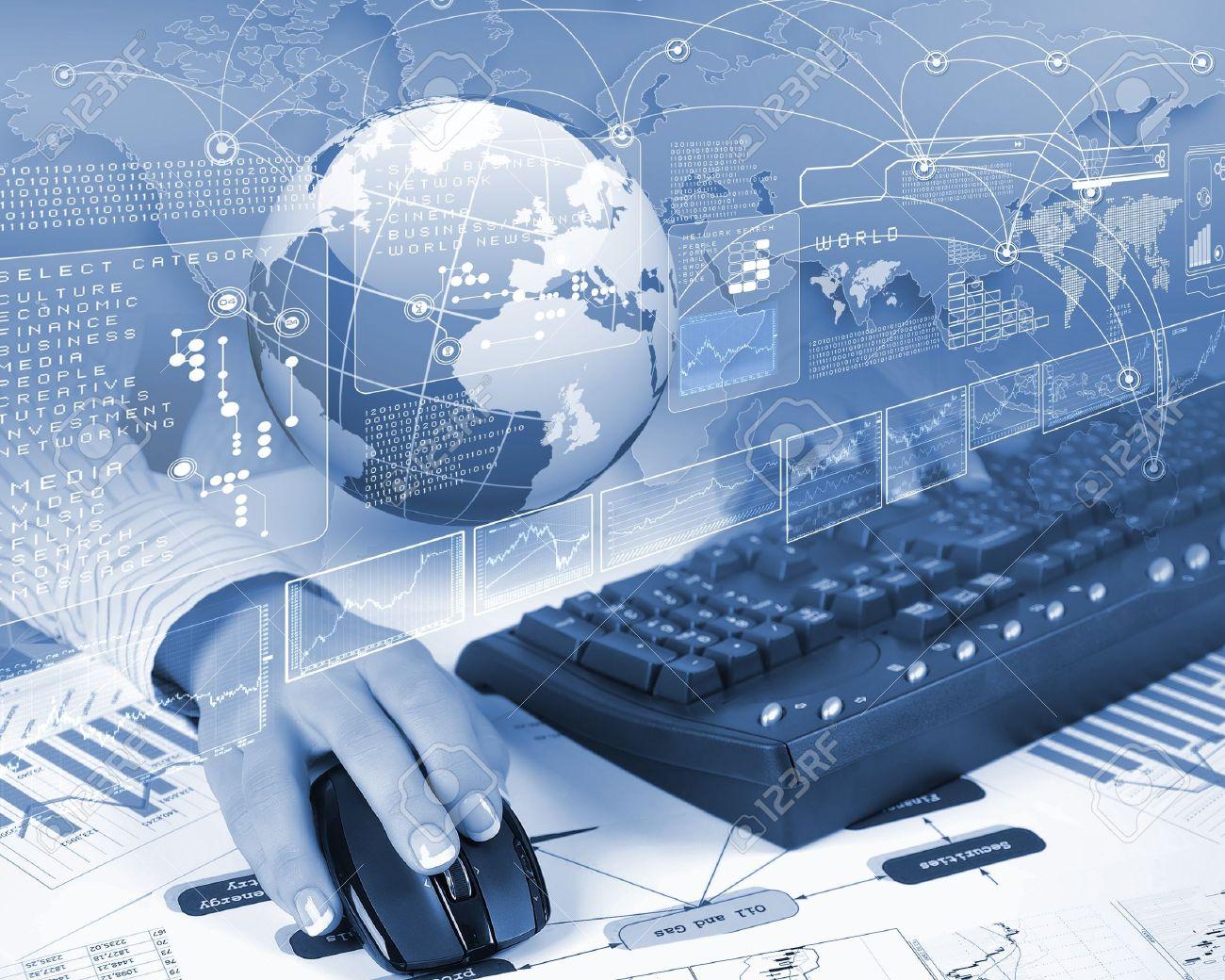 Blue Globe On The Digital Technology Background Stock Photo ...