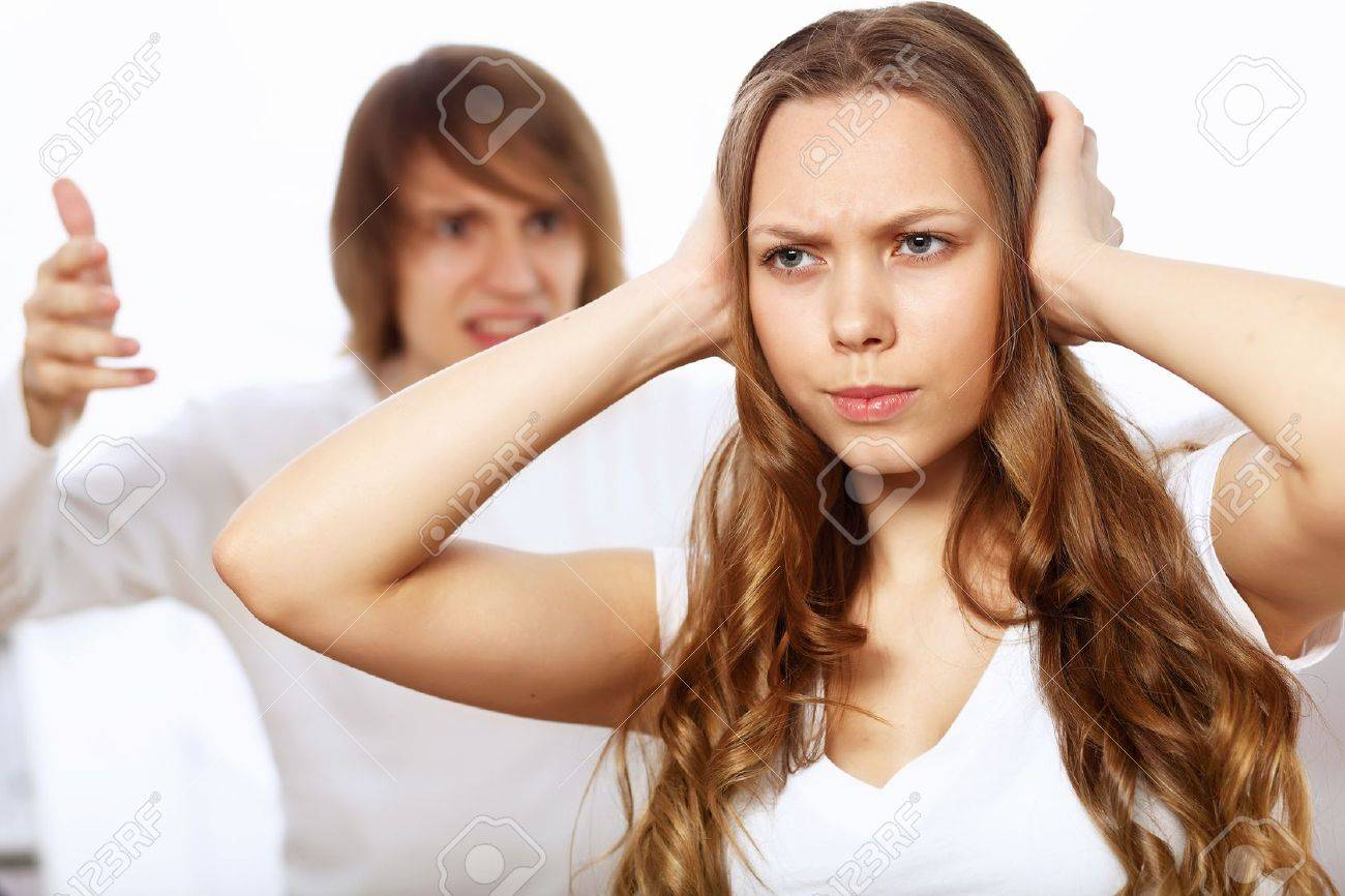 Young man and woman angry and conflicting Stock Photo - 14027038
