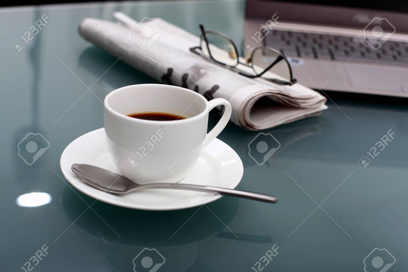 Image of business table with a cup of coffee and norebook Stock Photo - 14068871