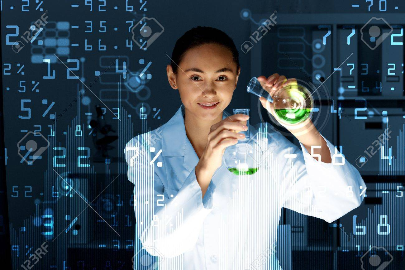 Young scientist in laboratory in white uniform Stock Photo - 14107058