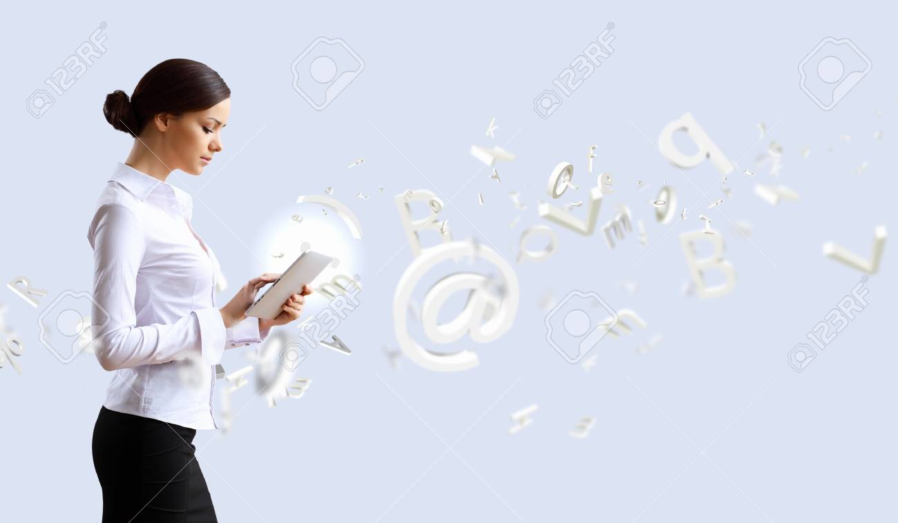 Young business person working with a notebook Stock Photo - 14133812