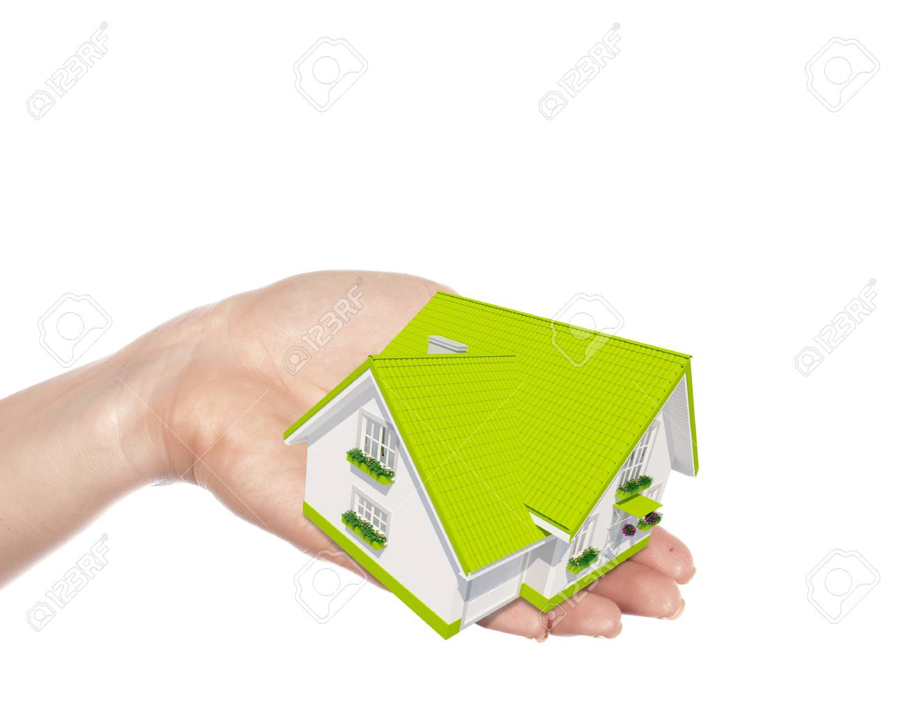 The house with colour roof in human hands Stock Photo - 15204587