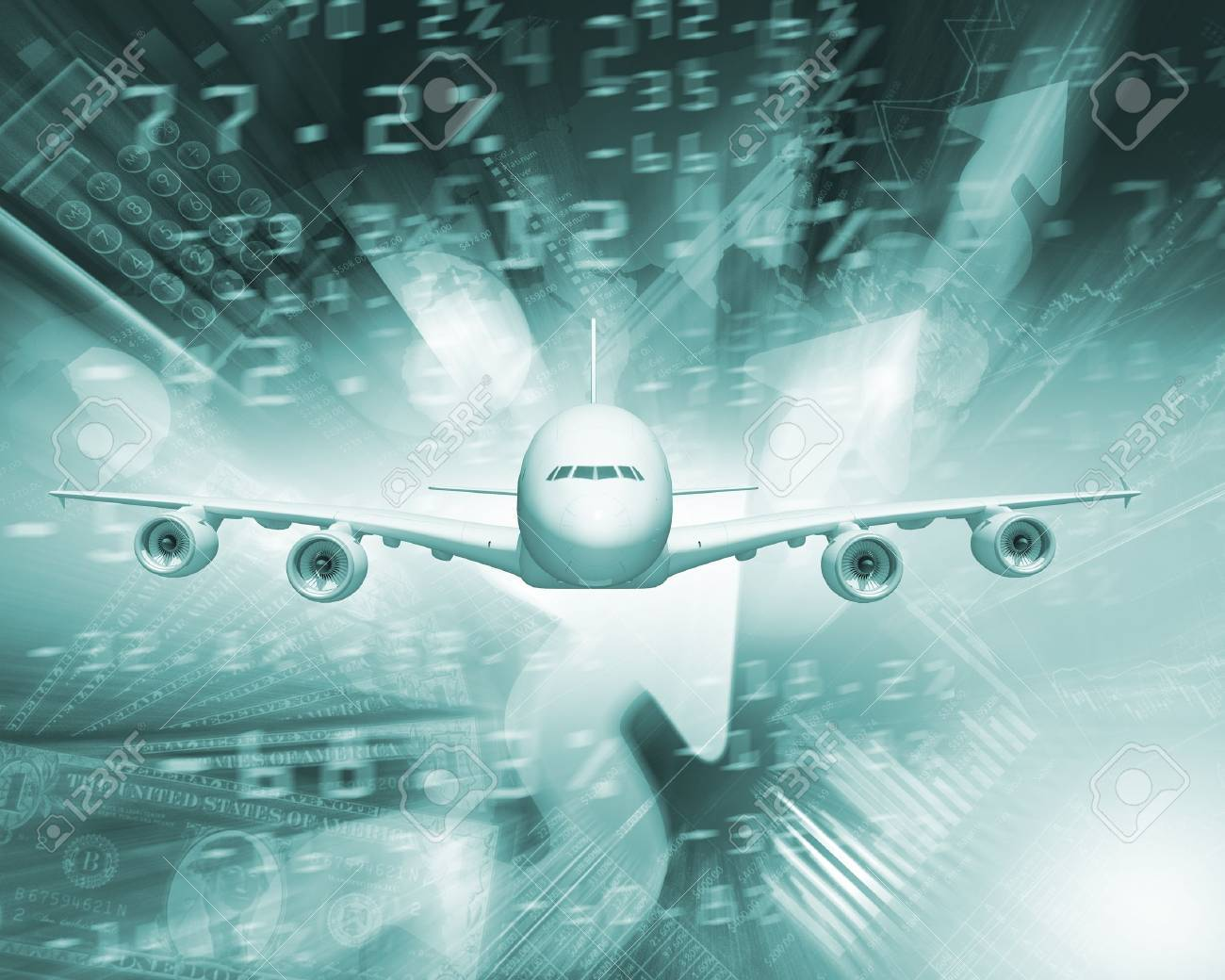 Image of a plane against business background Stock Photo - 15208056