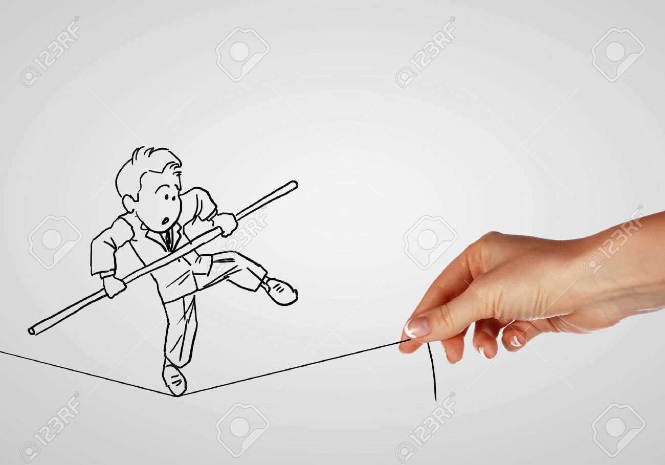 Pencil drawing as illustraion of risks and challenges inbusiness Stock Photo - 15215517