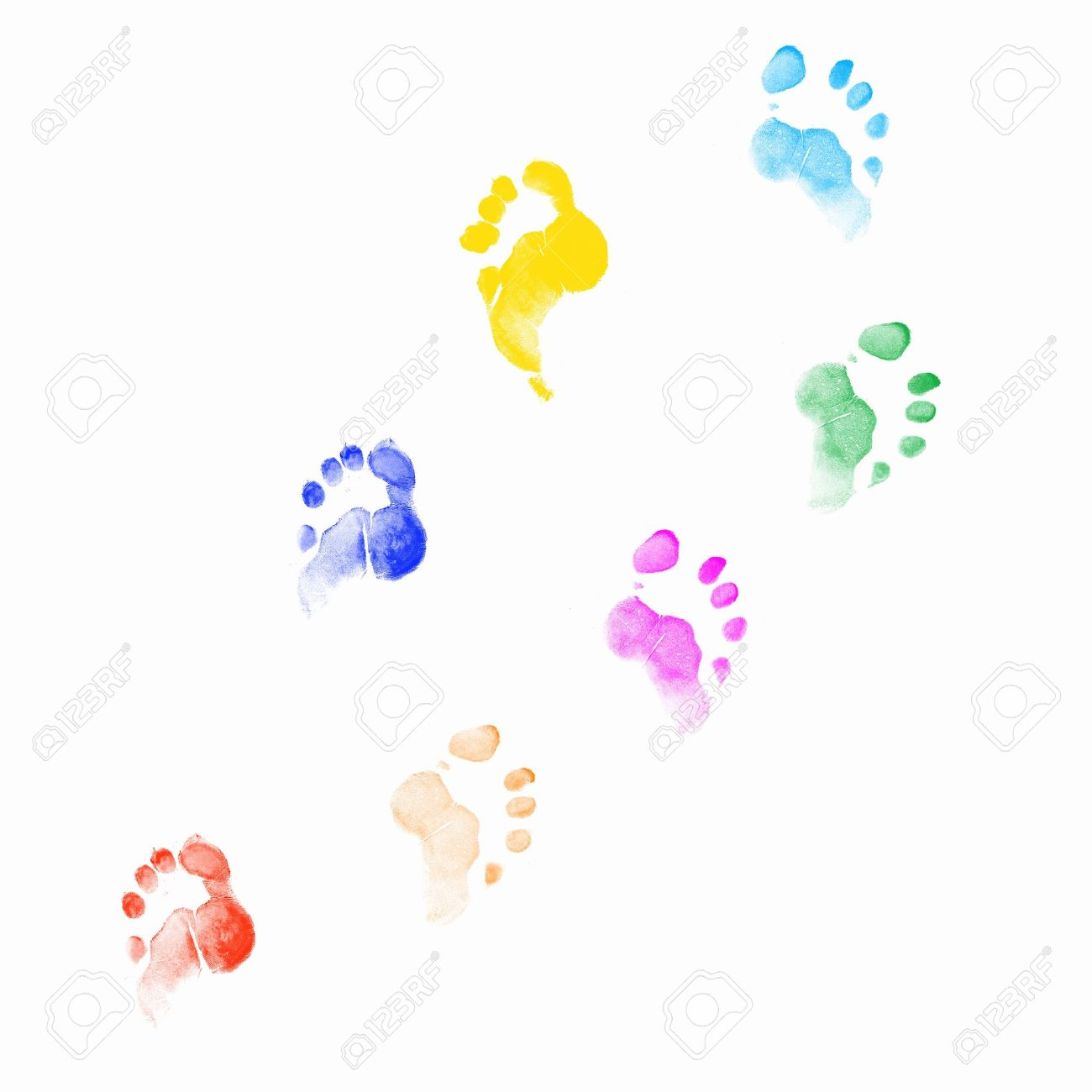 Colourful human foot prints on white background Stock Photo - 15106858
