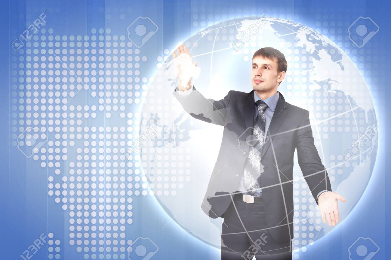 Modern Business World, A businessman navigating virtual world map Stock Photo - 15538202