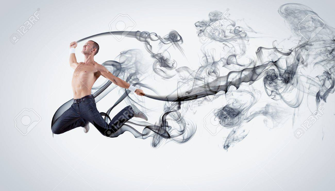 Modern style male dancer jumping and posing  Illustration Stock Photo - 15539559