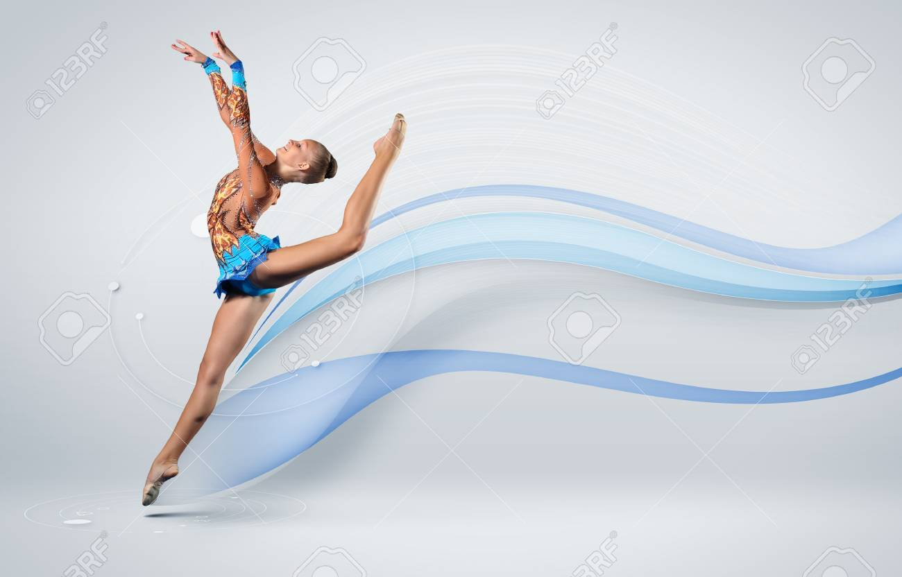 Young cute woman in gymnast suit show athletic skill on white background Stock Photo - 15691472