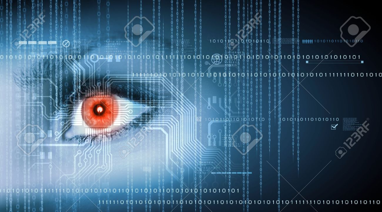Eye viewing digital information represented by ones and zeros Stock Photo - 15604878