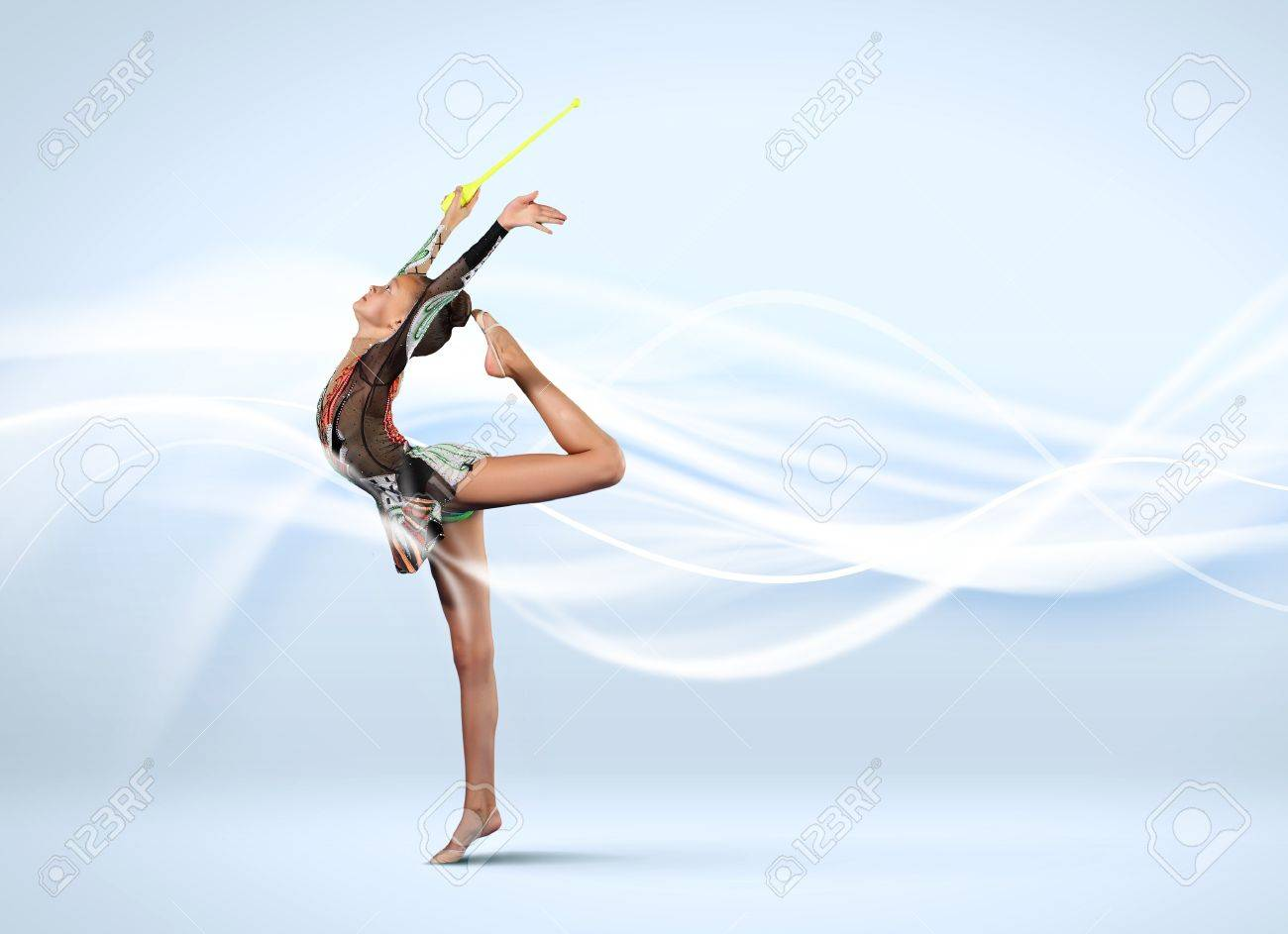Young cute woman in gymnast suit show athletic skill on white background Stock Photo - 15647814