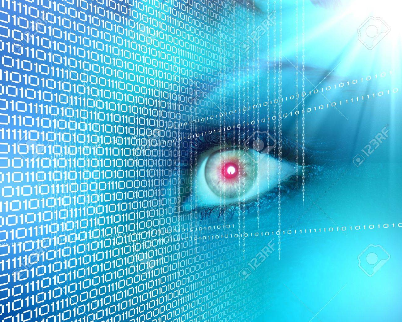 Eye viewing digital information represented by ones and zeros Stock Photo - 15628620