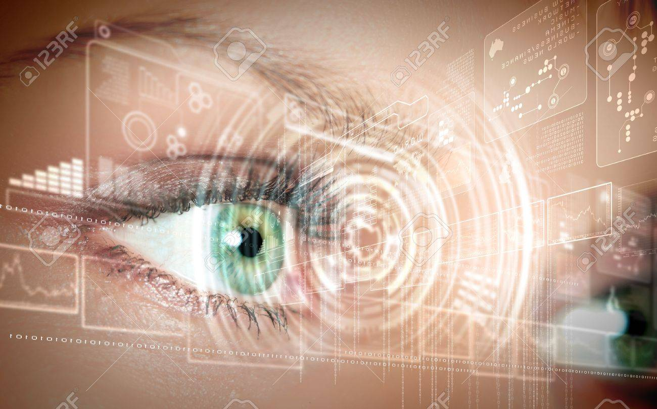 Eye viewing digital information represented by circles and signs Stock Photo - 15628970