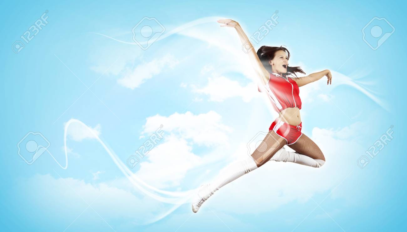 Young woman dancer illustration  With lights effect Stock Photo - 15851014