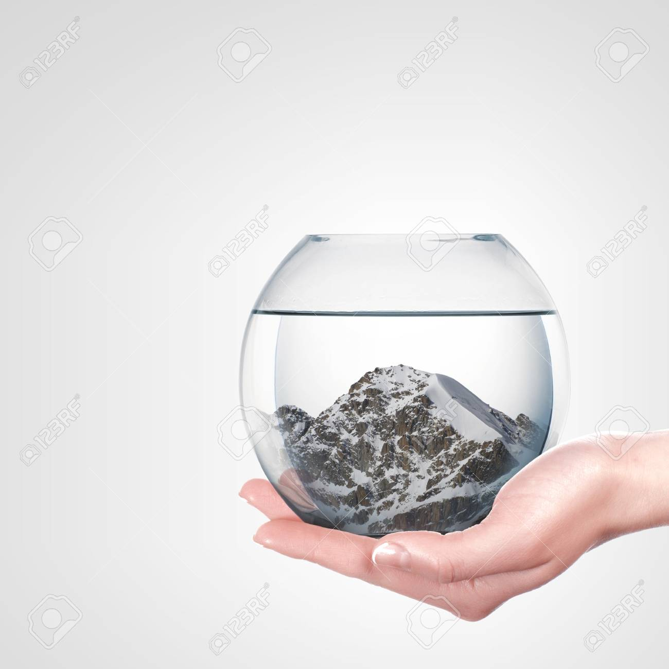 Beautiful snow-capped mountains inside a glass bowl Stock Photo - 16103873