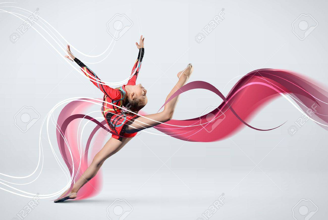 Young cute woman in gymnast suit show athletic skill on white background Stock Photo - 16193999