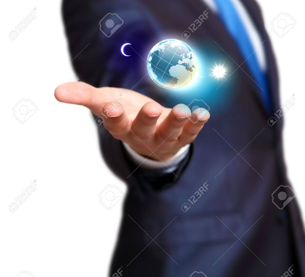 Human hand holding our planet earth glowing Stock Photo - 16226427
