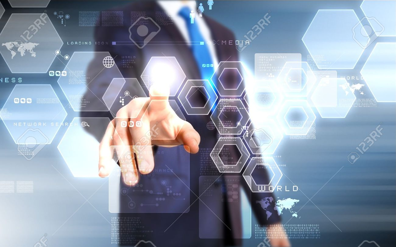 Business person working with modern virtual technology Stock Photo - 16287514