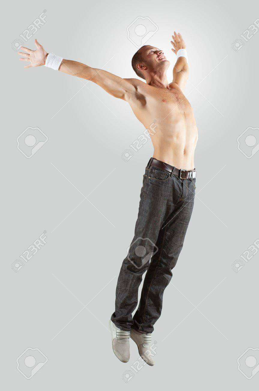 Modern style male dancer jumping and posing  Illustration Stock Illustration - 16304075