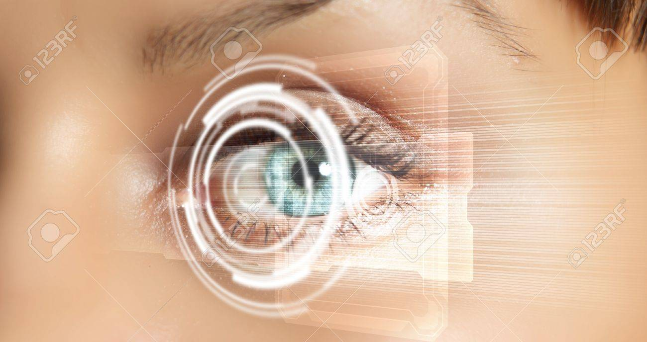 Eye viewing digital information represented by circles and signs Stock Photo - 16318360