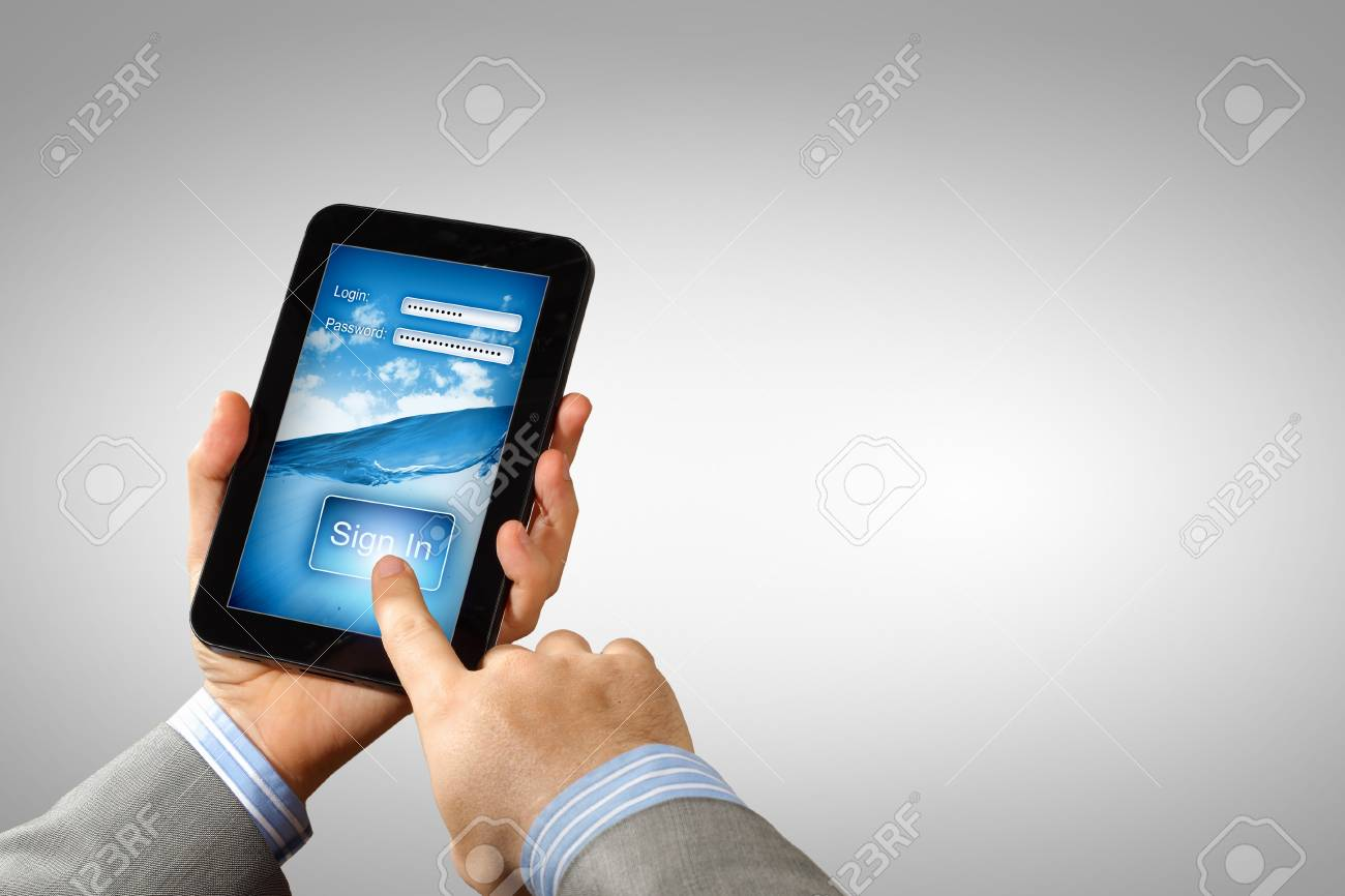 Login with email and password on computer screen Stock Photo - 16524703