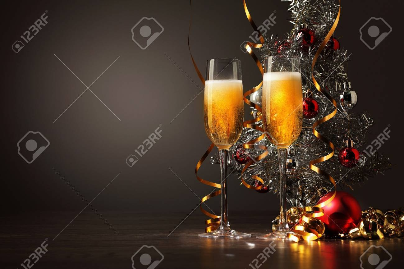Two champagne glasses ready to bring in the New Year Stock Photo - 16524920