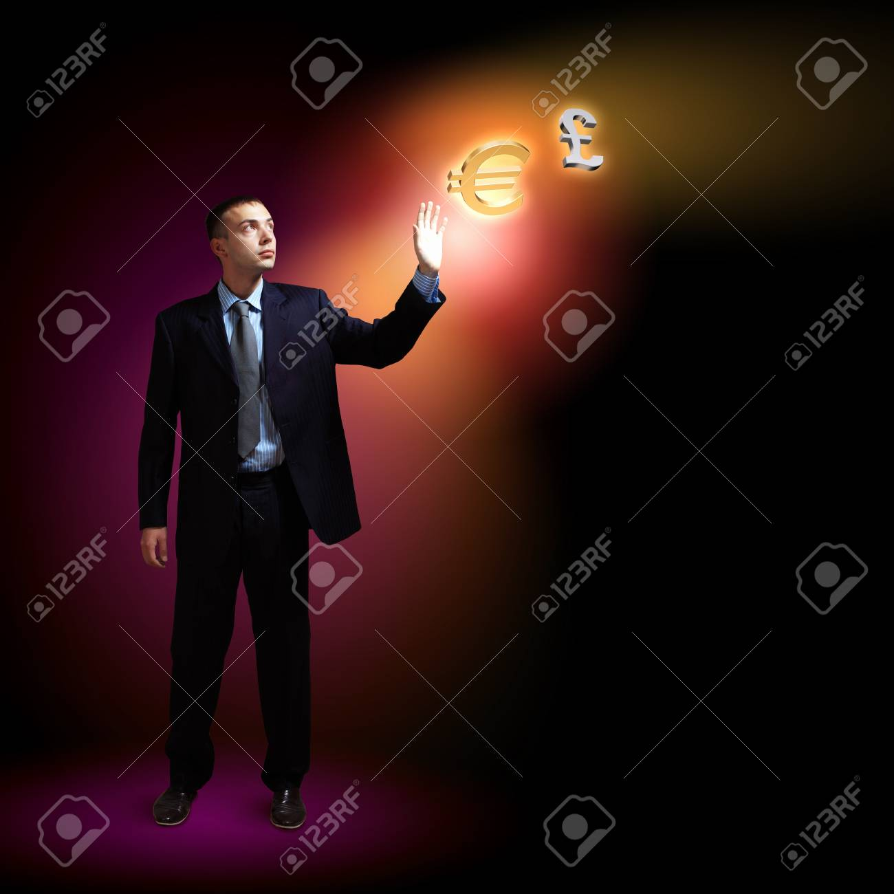 Modern people doing business, young businessman with money symbols Stock Photo - 16716435