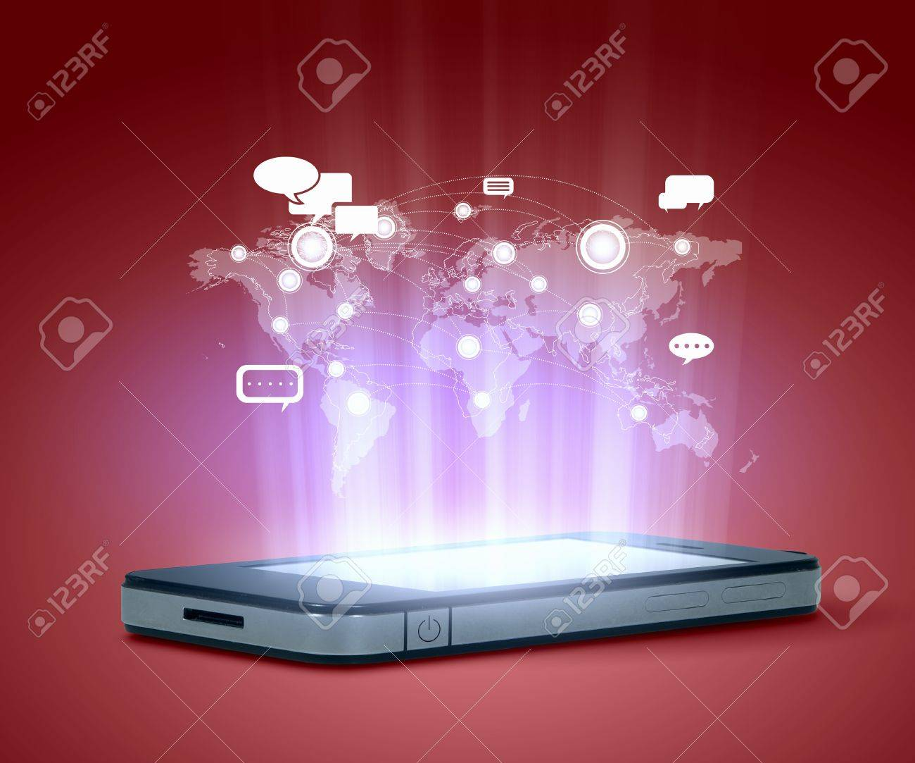 Modern communication technology illustration with mobile phone and high tech background Stock Illustration - 16737230